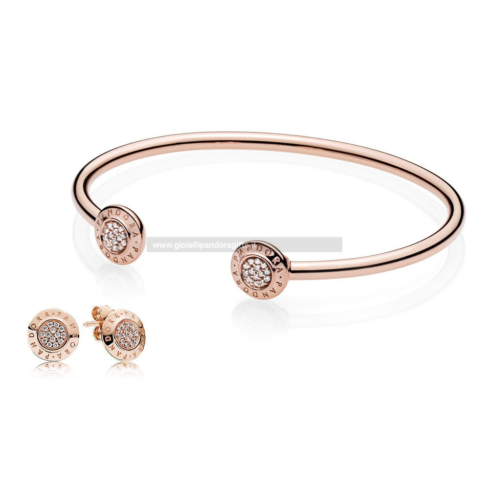 Pandora Shop Pandora Rose Signatura Bangle And Earsquillare Regalo Impostato