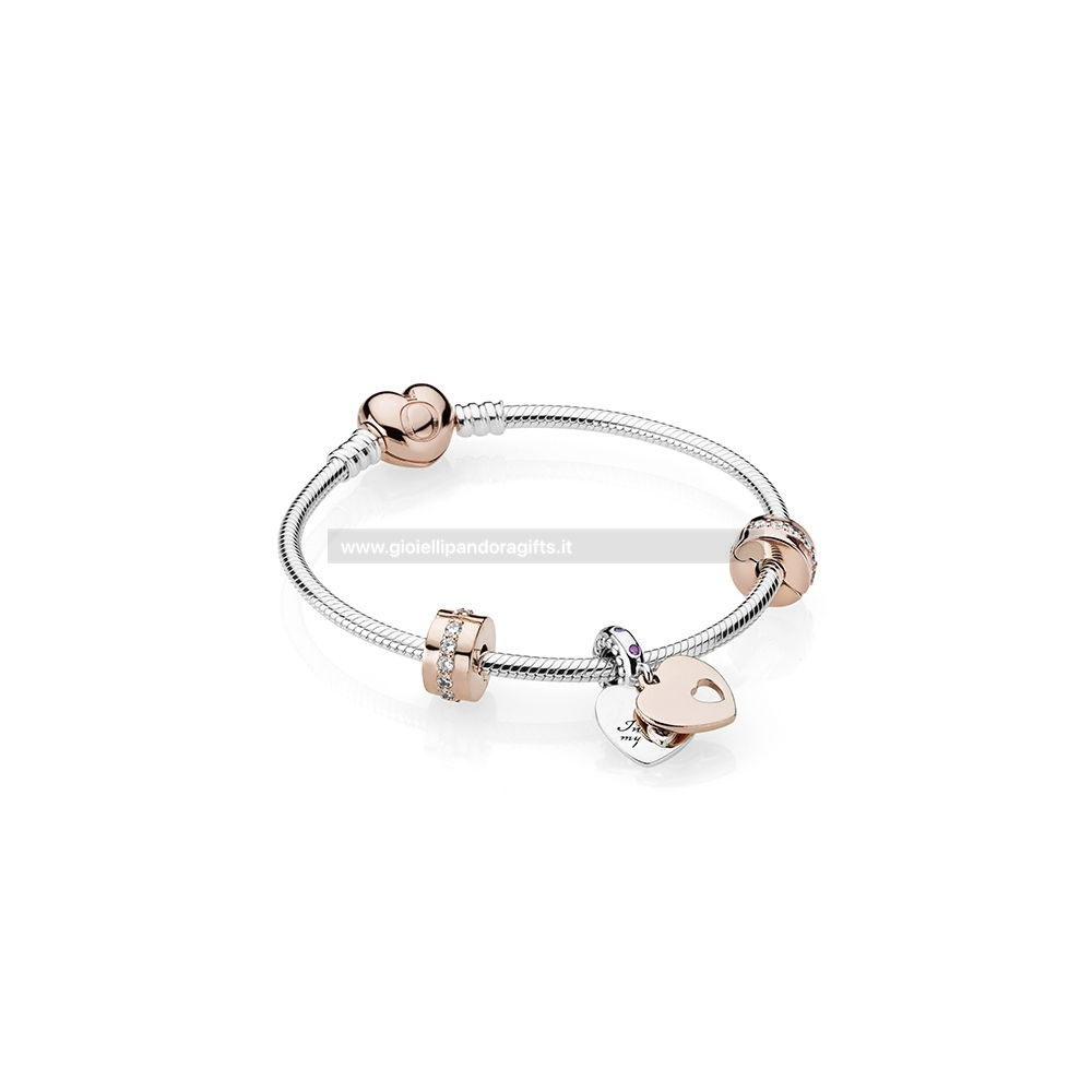 Pandora Shop Nel Mio Cuore Bracciali Regalo Impostato Pandora Rose Clear Cz E Multi Colored Cristalli