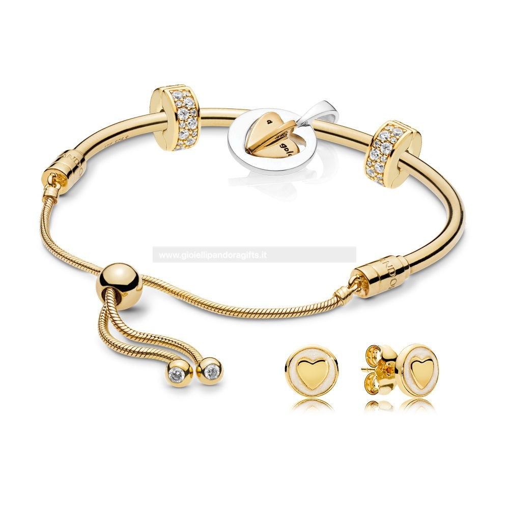 Pandora Shop Pandora Shine Mum'S Golden Cuore Bracciali Set
