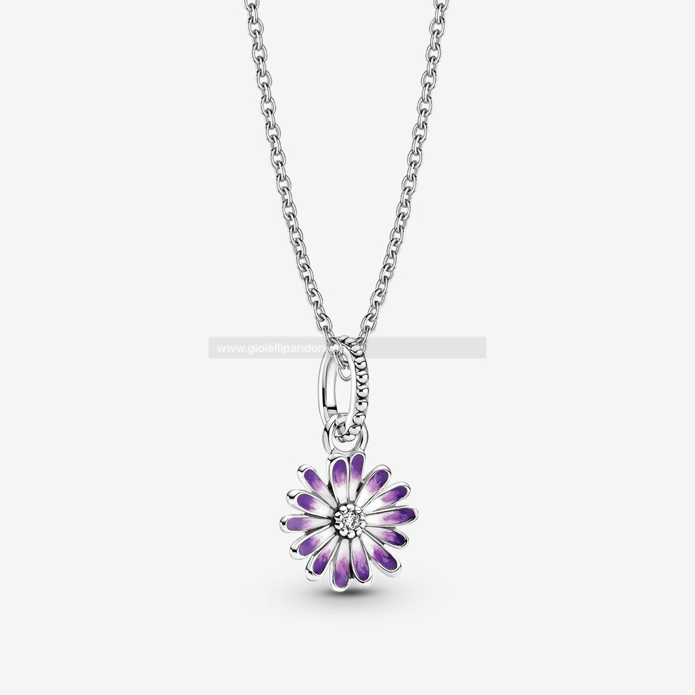 Pandora Shop Purple Daisy Collane Impostata
