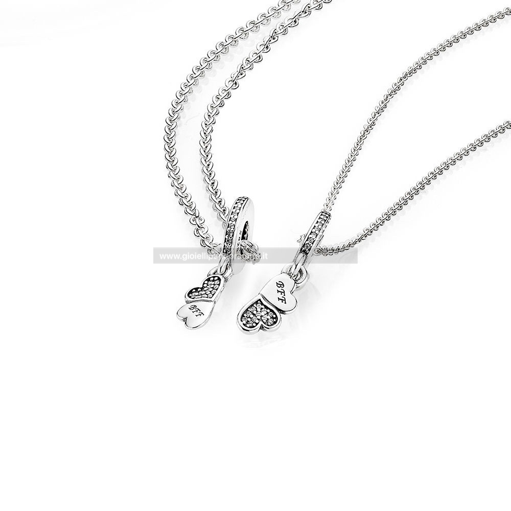 Pandora Shop Hearts Silver Dangle With Clear Cubic Zirconia And Necklace
